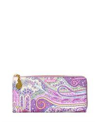 Etro | Purple Calcutta Paisley Zip Around Wallet | Lyst