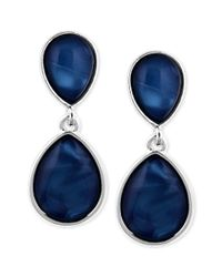 Jones New York | Silvertone Blue Stone Double Teardrop Clipon Earrings | Lyst