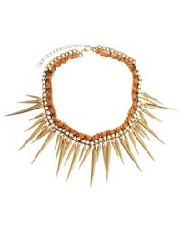 Kasturjewels - Metallic Statement Spike Necklace - Lyst