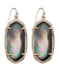 Kendra Scott - Gray Goldplated Elle Earrings Black - Lyst