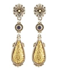 Konstantino | Metallic Iolite and Teardrop Flower Earrings | Lyst
