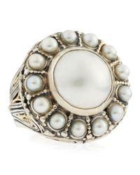 Konstantino | Metallic Circle Pearl Ring | Lyst