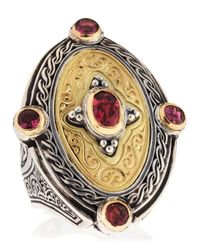 Konstantino | Metallic Twotone Pink Tourmaline Oval Ring Size 7 | Lyst