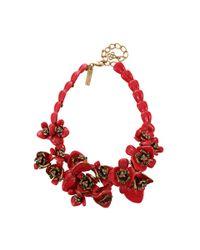 Oscar de la Renta - Red Painted Flower Necklace - Lyst