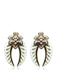 Roberto Cavalli - Green Swarovski Flower Clip Earrings - Lyst