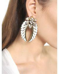 Roberto Cavalli - Green Swarovski Flower Clip Earrings - Lyst