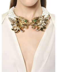 Roberto Cavalli - White Swarovski Dragon Necklace - Lyst
