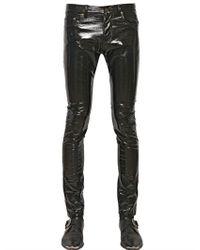 Saint Laurent Black 155cm Skinny Faux Patent Leather Jeans for men