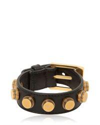 Saint Laurent - Black Studded Leather Cuff Bracelet - Lyst