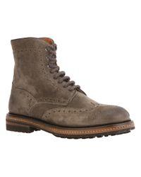 Santoni - Gray Laceup Boot for Men - Lyst