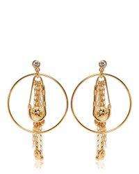 Versus Metallic Safety Pin Hoop Fringe Earrings