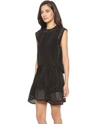 3.1 Phillip Lim Black Umbrella Skirt Dress with Laser Cut Dots