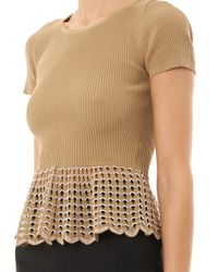 Alexander McQueen Natural Ribbed-knit Peplum Top