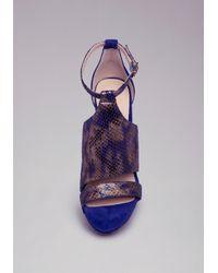 Bebe Blue Cassady Python Sandals