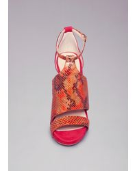 Bebe Red Cassady Python Sandals