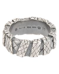Bottega Veneta | Metallic Check Engraved Chunky Ring for Men | Lyst