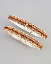 Chamak by Priya Kakkar - Metallic Twopiece Crystal Bangles Amber - Lyst