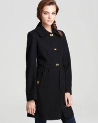 DKNY Black Babydoll Coat