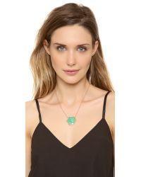 Jacquie Aiche Green Pave Large Hexagon Bezel Necklace