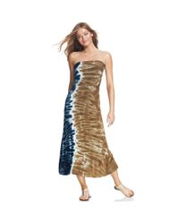 Lucky Brand Blue Convertible Tie-dye Maxi Skirt Cover Up