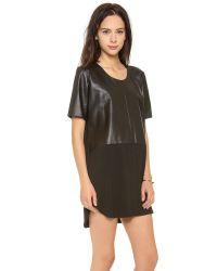 Michelle Mason Black Leather Front Tee Dress
