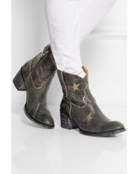 Mexicana - Gray Tristar Appliquéd Distressed Leather Ankle Boots - Lyst