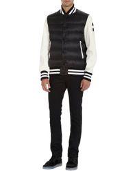 Moncler Black Leather Sleeve Puffer Varsity Jacket for men