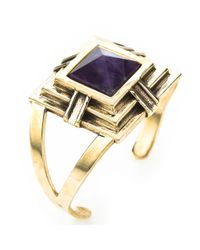 Pamela Love | Metallic Step Cuff with Amethyst | Lyst