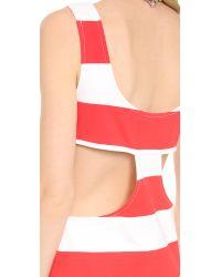 Pencey Red Cutout Stripe Tank Dress