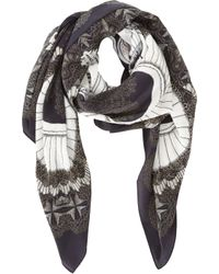 Swash London - Black Ruff Print Square Scarf - Lyst