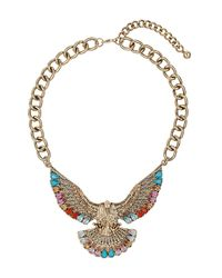 TOPSHOP - Metallic Eagle Stone Necklace - Lyst