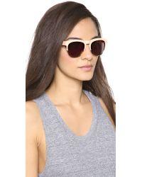 Wildfox Natural Clubfox Deluxe Sunglasses - Cream/Gold Mirror