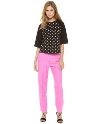3.1 Phillip Lim Black Crepe And Polka-Dot Cotton-Jersey Top
