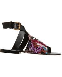 Antik Batik Black Beaded Toe Ring Flat Sandal