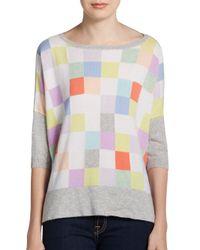 Autumn Cashmere - Multicolor Checkerboard Front Cashmere Sweater - Lyst