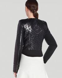 BCBGMAXAZRIA Black Jacket Suvi Geo Sequin Moto