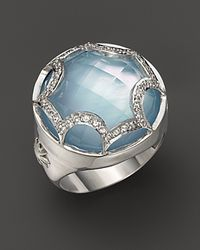 Elizabeth Showers | Metallic Sterling Silver and Blue Topaz Maltese Ring | Lyst