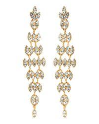 Fragments - Metallic Rhinestone Long Leaf Earrings Golden - Lyst