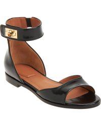 Givenchy Black Shark Tooth Ankle Strap Sandal