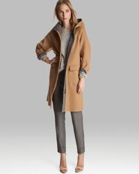 Halston Brown Coat Three Quarter Sleeve Reversible with Hood