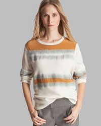 Halston Multicolor Sweater Round Neck Needle Punch Detail