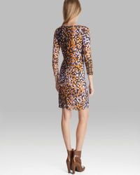 Halston Multicolor Dress Ruched Printed Knit