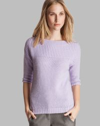 Halston Purple Sweater Boat Neck Elbow Sleeve