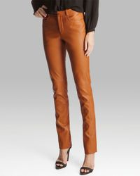 Halston Brown Pants Leather Skinny