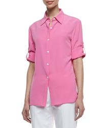 Lafayette 148 New York - Pink Theo Sandwashed Silk Blouse - Lyst
