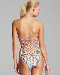 Mara Hoffman Multicolor Lattice Back One Piece Swimsuit
