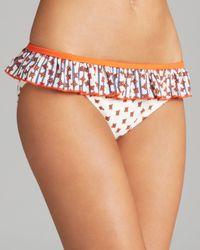Marc By Marc Jacobs White Chrissies Floral Ruffle Bikini Bottom