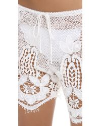 Miguelina White Minnie Lace Shorts