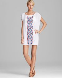 MILLY White Aztec Cape Creton Embroidered Cover Up Tunic