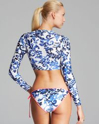 MILLY Blue Delft Cropped Rash Guard
